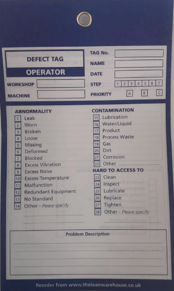 TPM Autonomous Maintenance Defect Tag - Blue - Operator